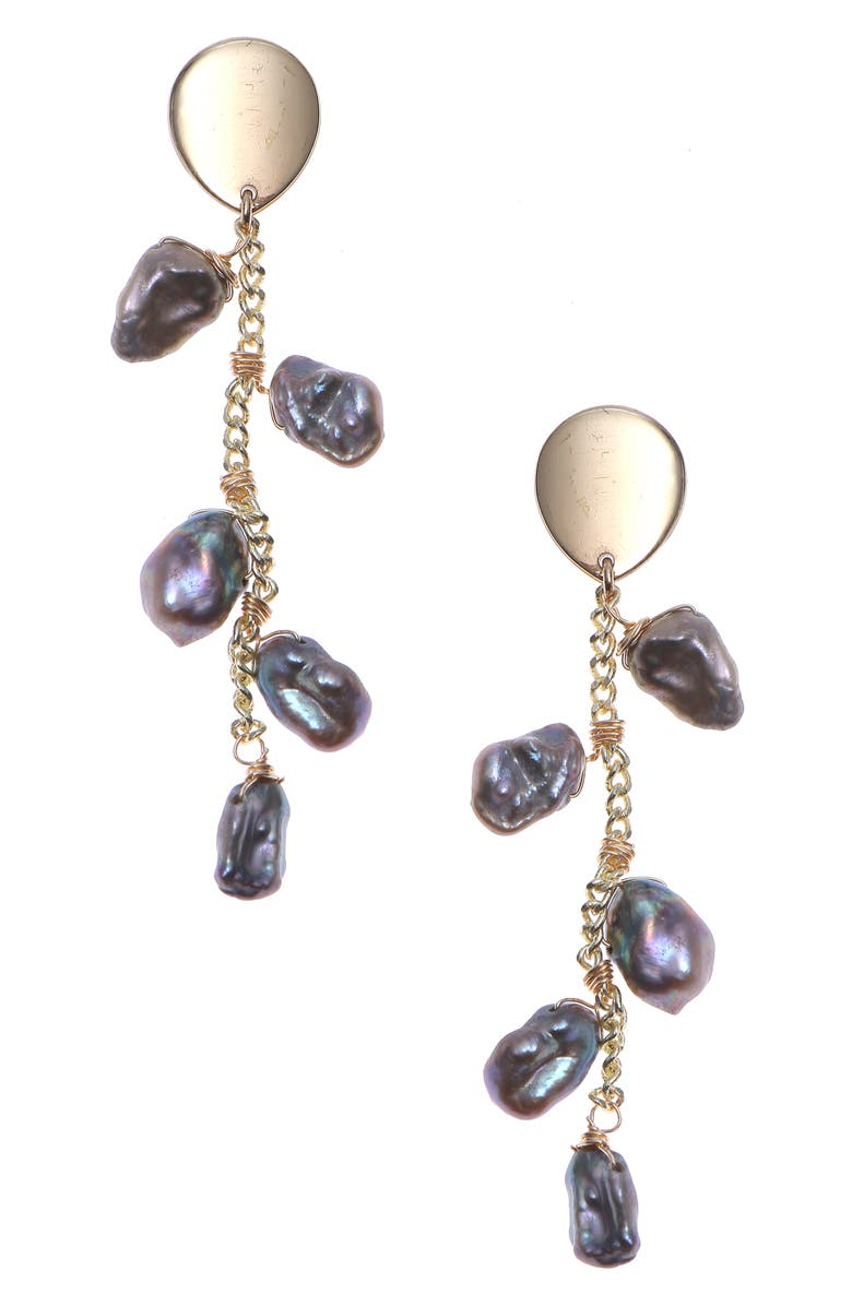 NAKAMOL CHICAGO Cultured Pearl Drop Earrings, Main, color, SILVER PEARL