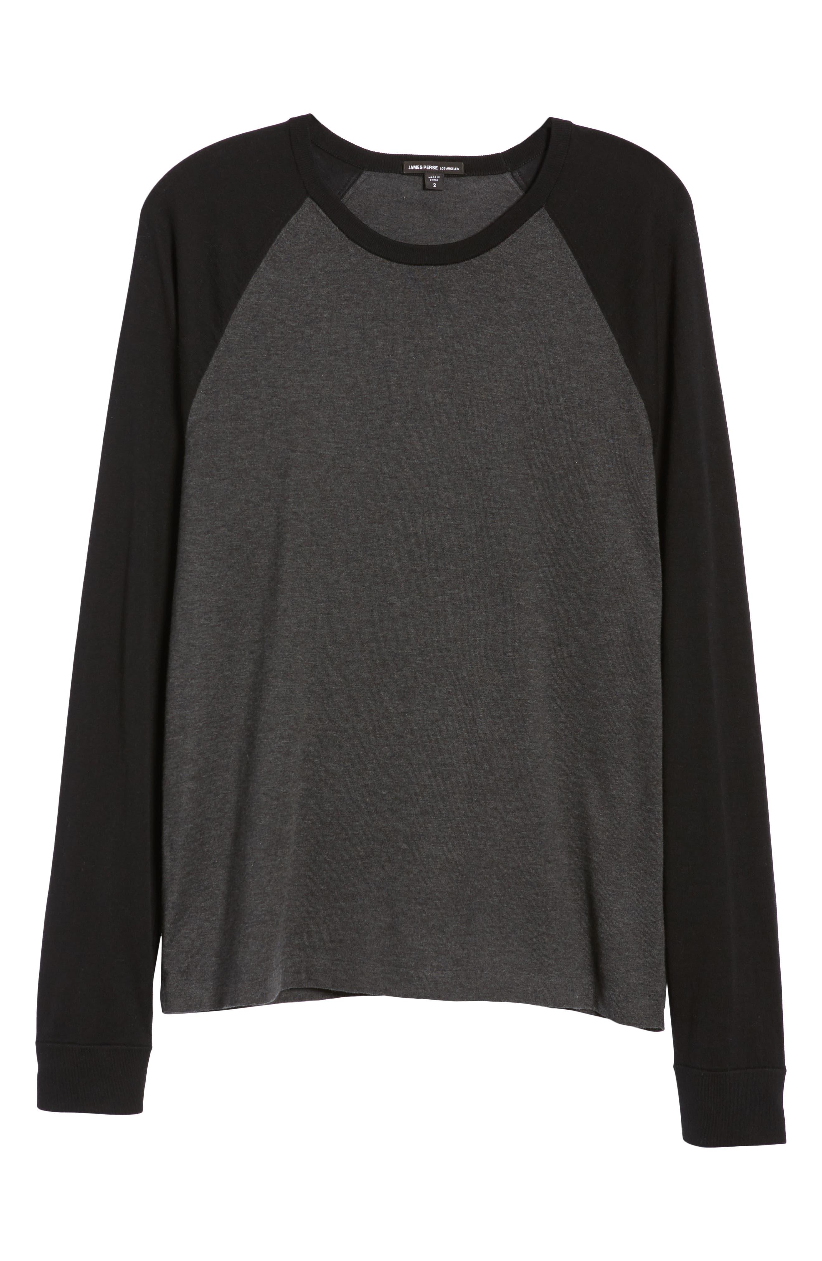 ,                             Jersey Crewneck Sweater,                             Alternate thumbnail 6, color,                             HEATHER/ CHARCOAL BLACK