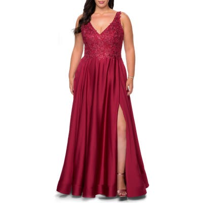 Plus Size La Femme Beaded Satin Gown, Red