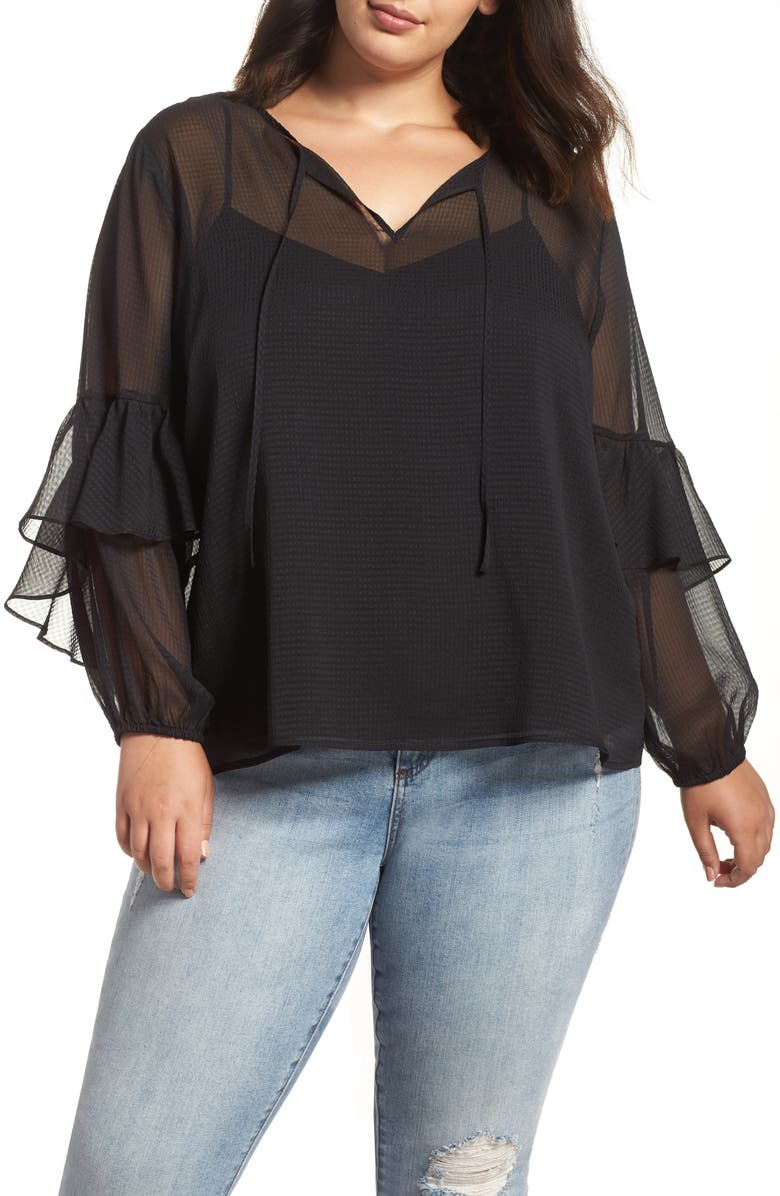 1.STATE Check Tie Neck Blouse, Main, color, 001