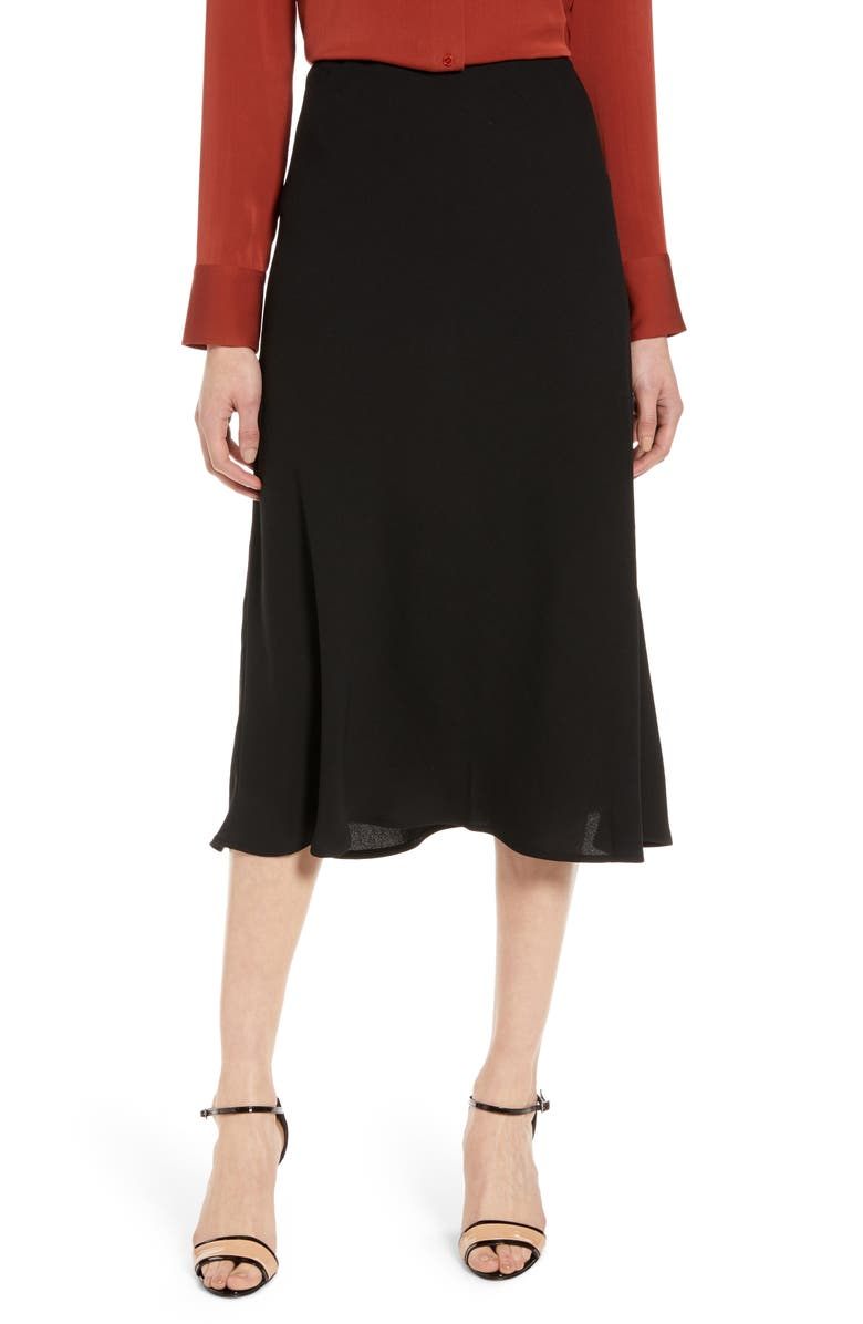 HALOGEN<SUP>®</SUP> Bias Cut A-Line Midi Skirt, Main, color, BLACK