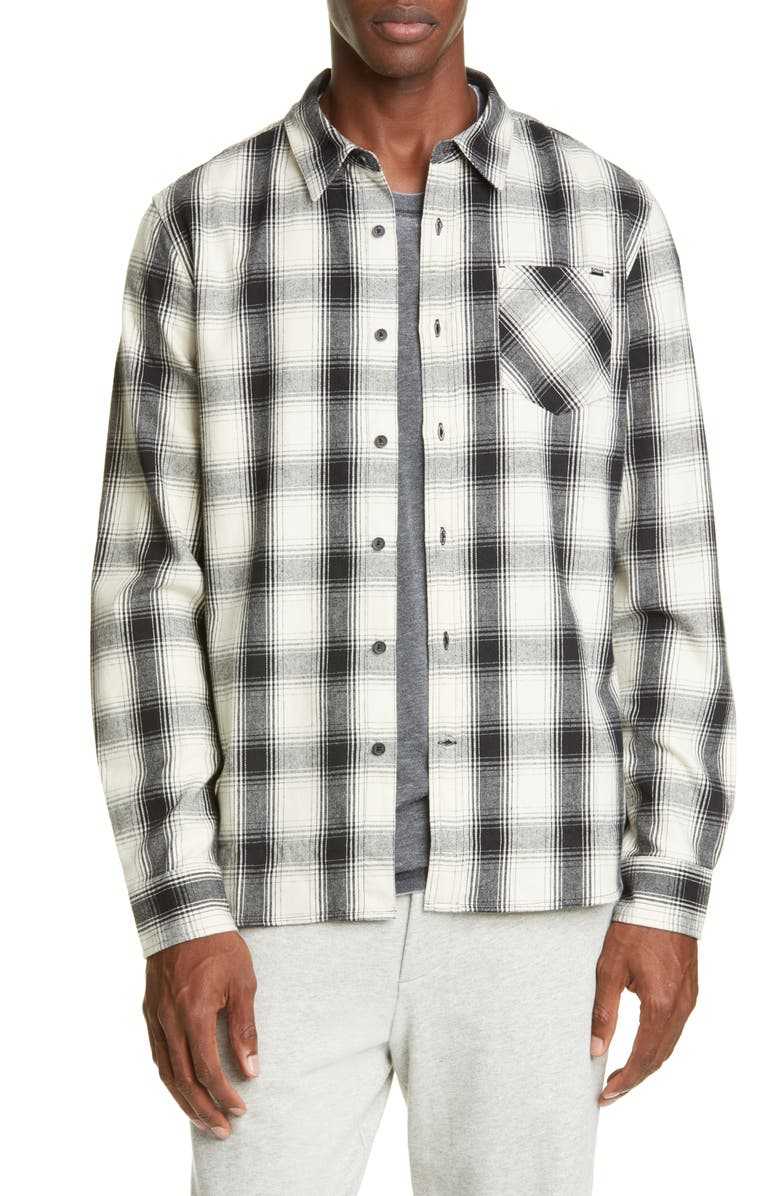 OVADIA & SONS Max Plaid Button-Up Twill Shirt, Main, color, OFF WHITE/ BLACK