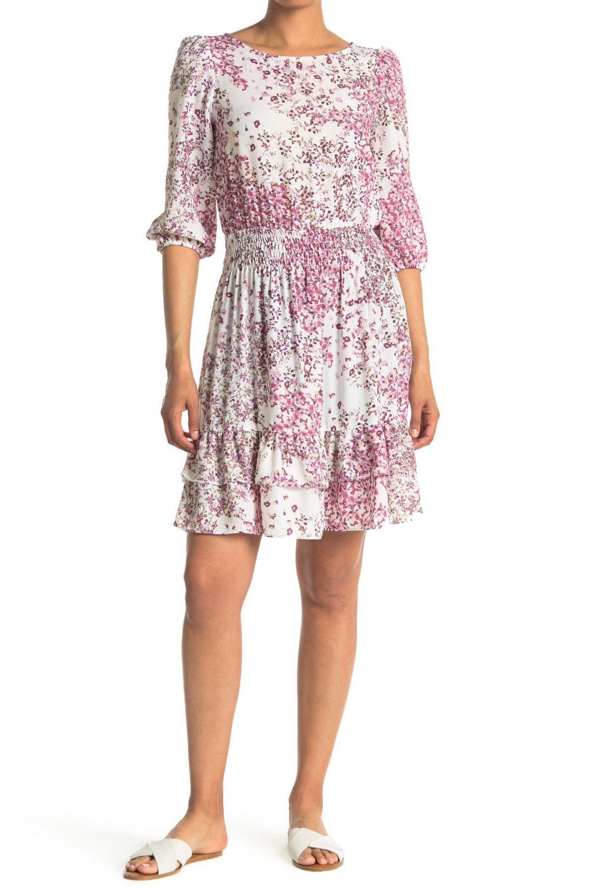 Image of Gabby Skye 3/4 Length Sleeve Floral Print Crepe Fit and Flare Dress