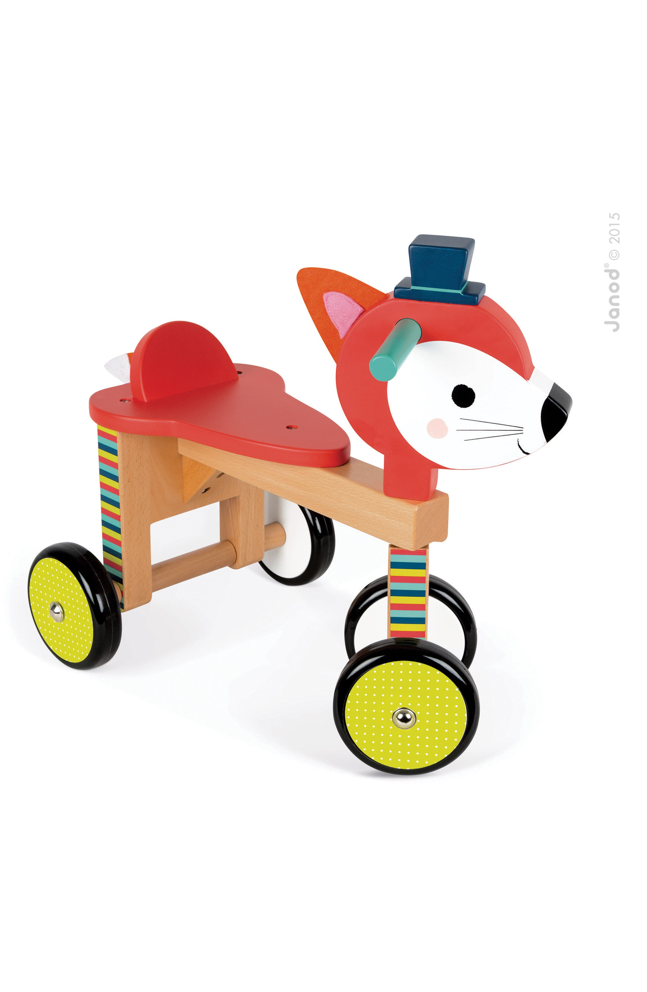 Carved from solid wood and outfitted with durable rubber wheels, this fox-shaped conveyance offers smooth, fun-filled rides from room to room. Style Name: Janod Fox Ride-On Toy. Style Number: 5486857. Available in stores.