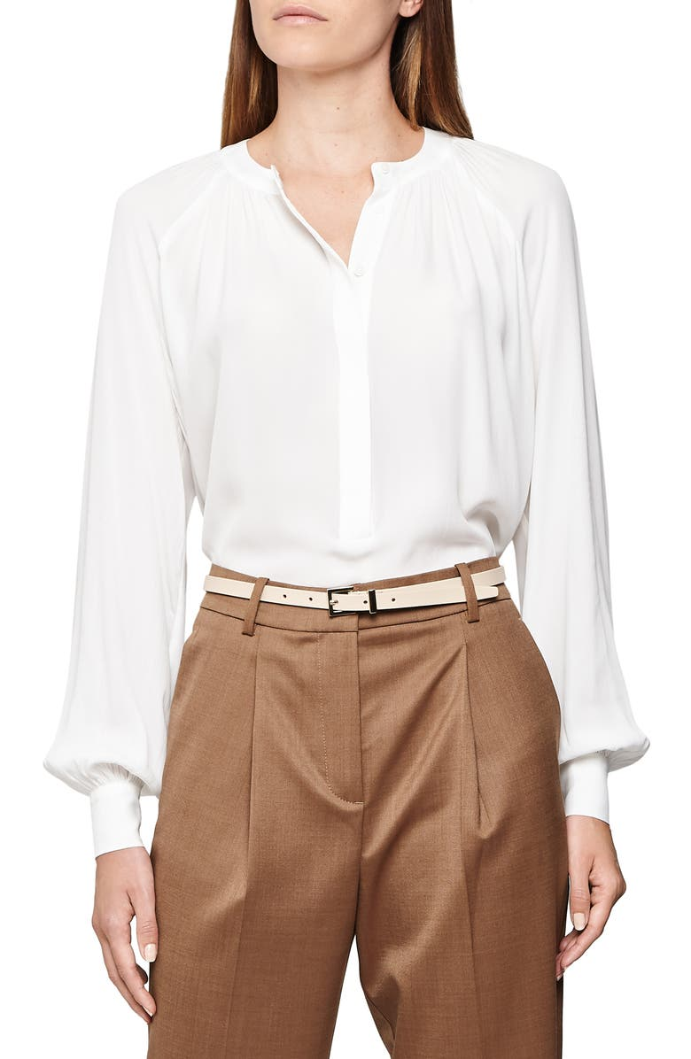 REISS Gwen Balloon Sleeve Popover Blouse, Main, color, 100