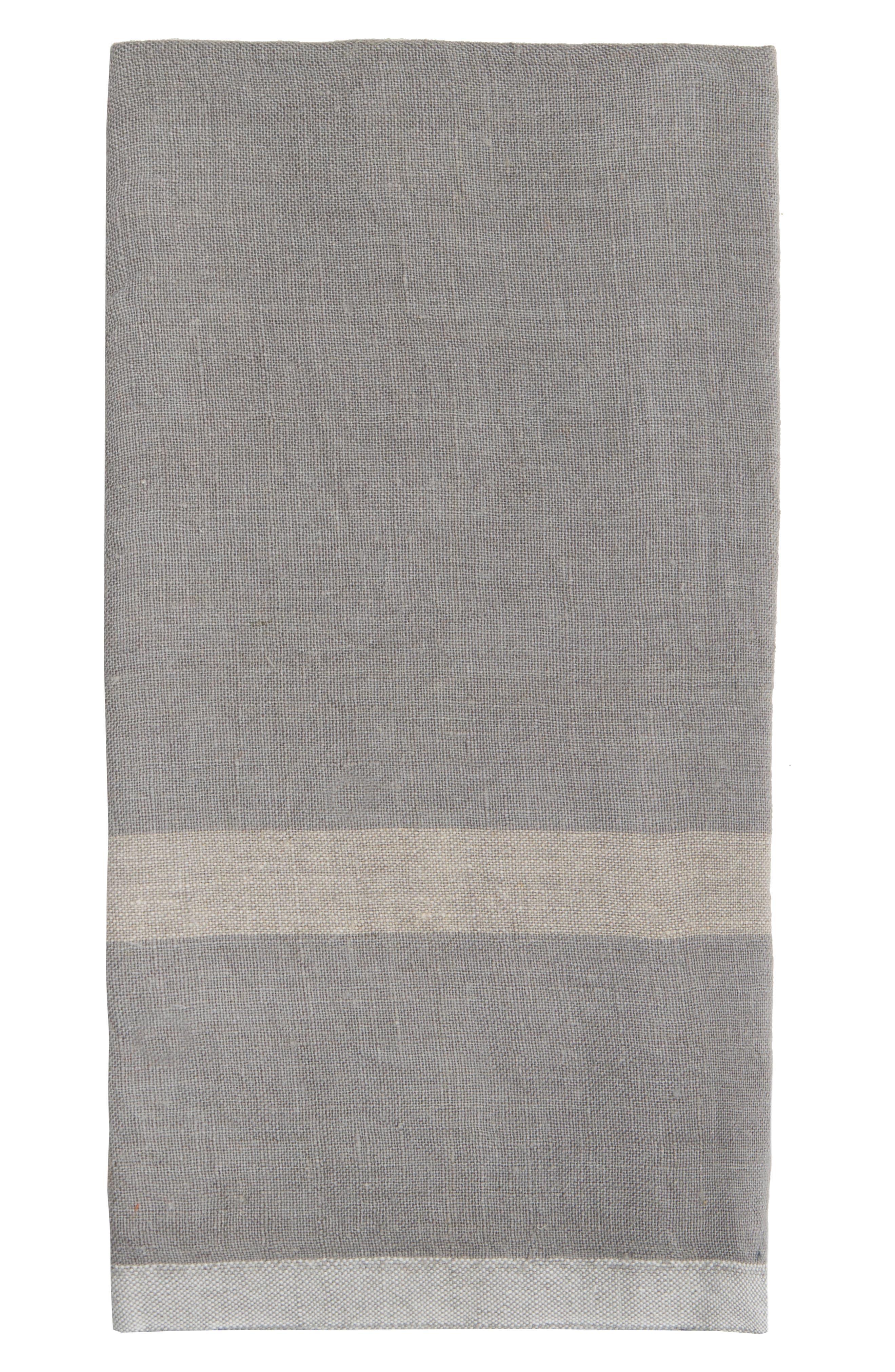 Caravan Set Of 2 Laundered Linen Tea Towels Size One Size  Grey