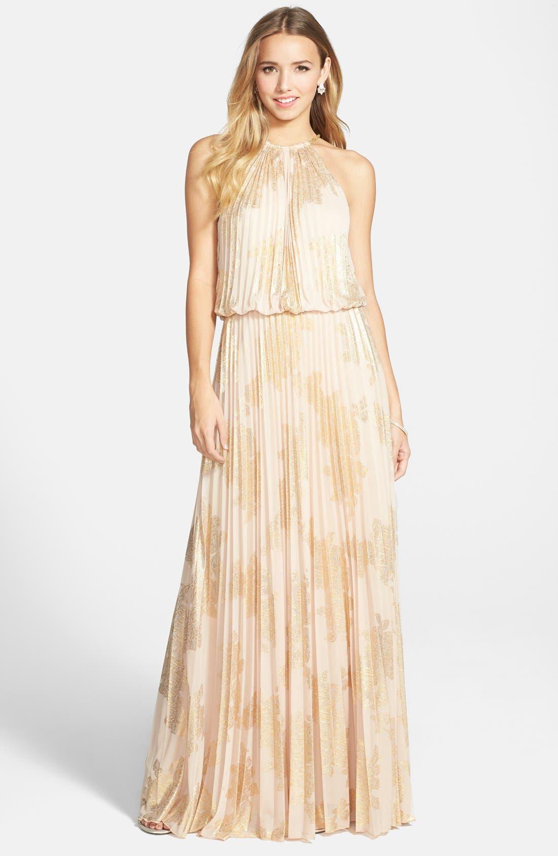 ,                             Foiled Pleated Jersey Blouson Dress,                             Main thumbnail 1, color,                             250