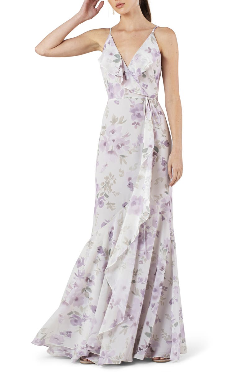 JENNY YOO Ensley Painted Petals Faux Wrap Trumpet Gown, Main, color, 540