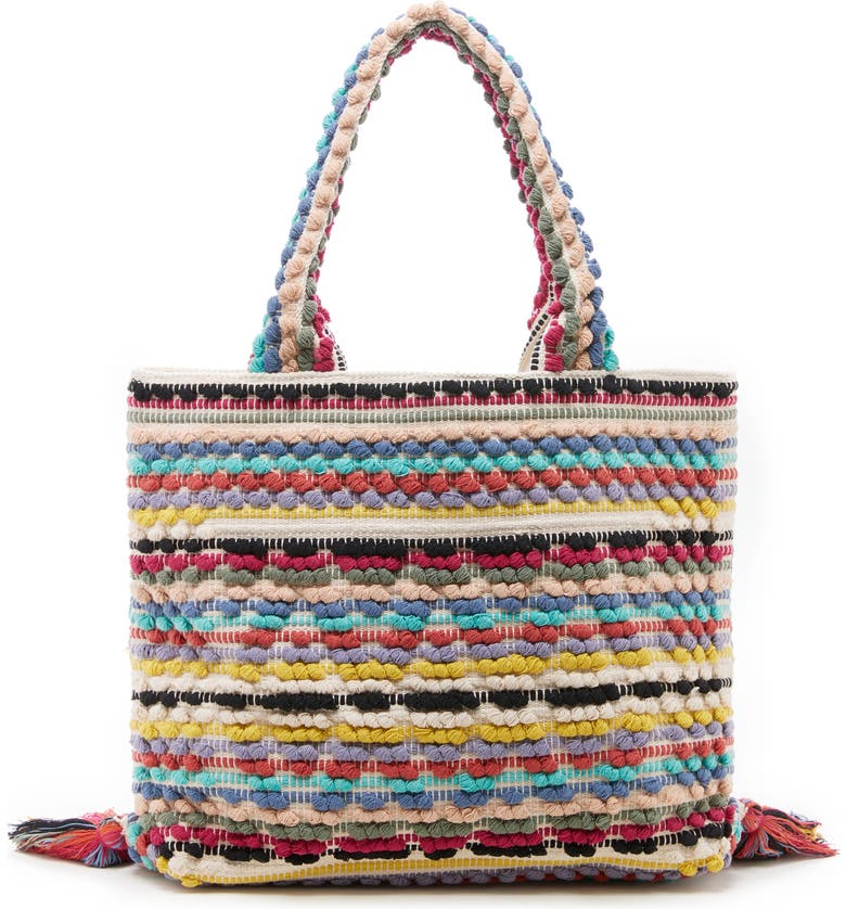SOLE SOCIETY Jaam Woven Tote, Main, color, RAINBOW MULTI