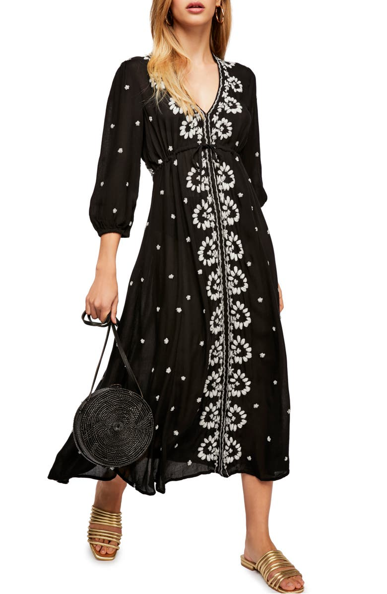 FREE PEOPLE Embroidered Midi Dress, Main, color, 001