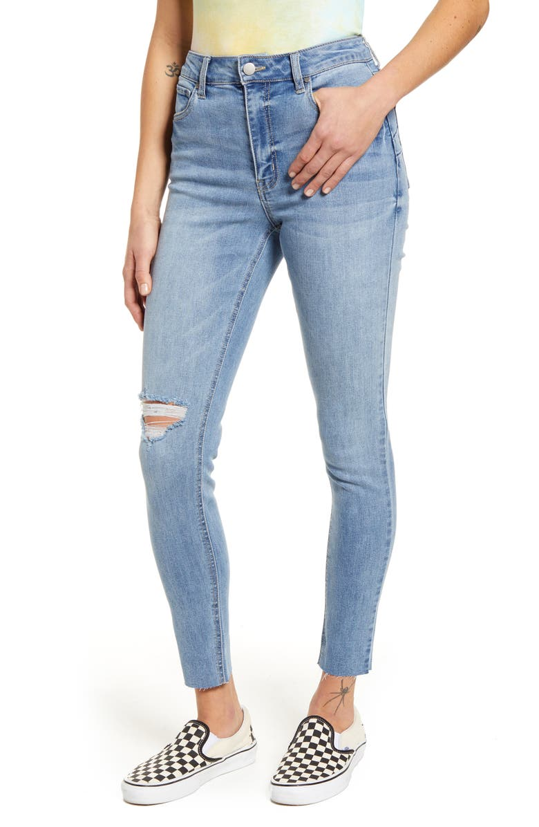 TINSEL Real Lift Distressed High Waist Ankle Skinny Jeans, Main, color, MEDIUM WASH