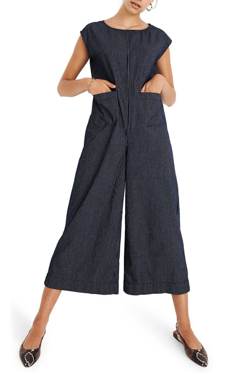 MADEWELL Relaxed Jumpsuit in Mini Windowpane, Main, color, MINI WINDOWPANE