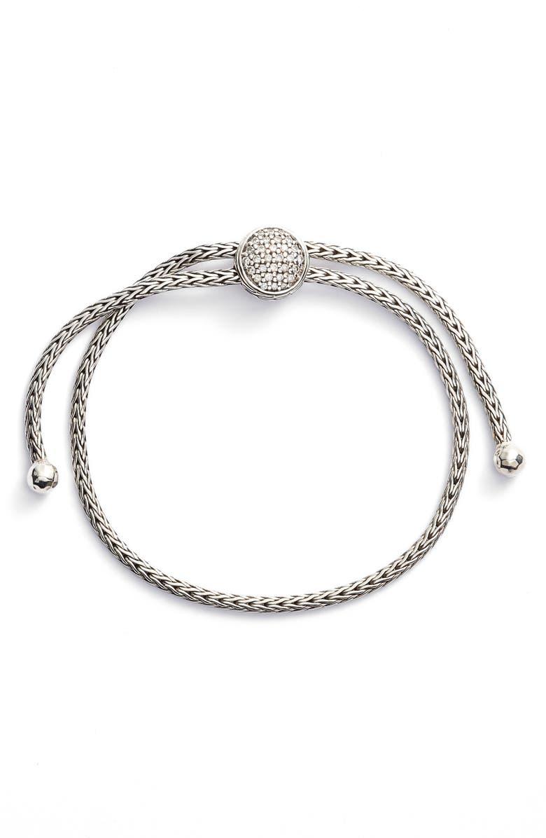 JOHN HARDY Classic Chain Diamond Pull Through Bracelet, Main, color, DIAMOND