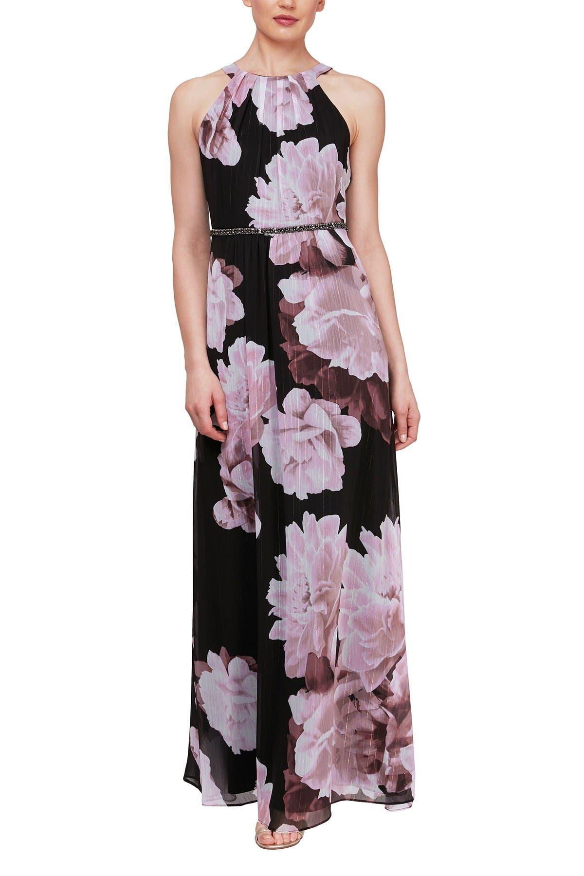 Image of SLNY Floral Embellished Waist Maxi Dress