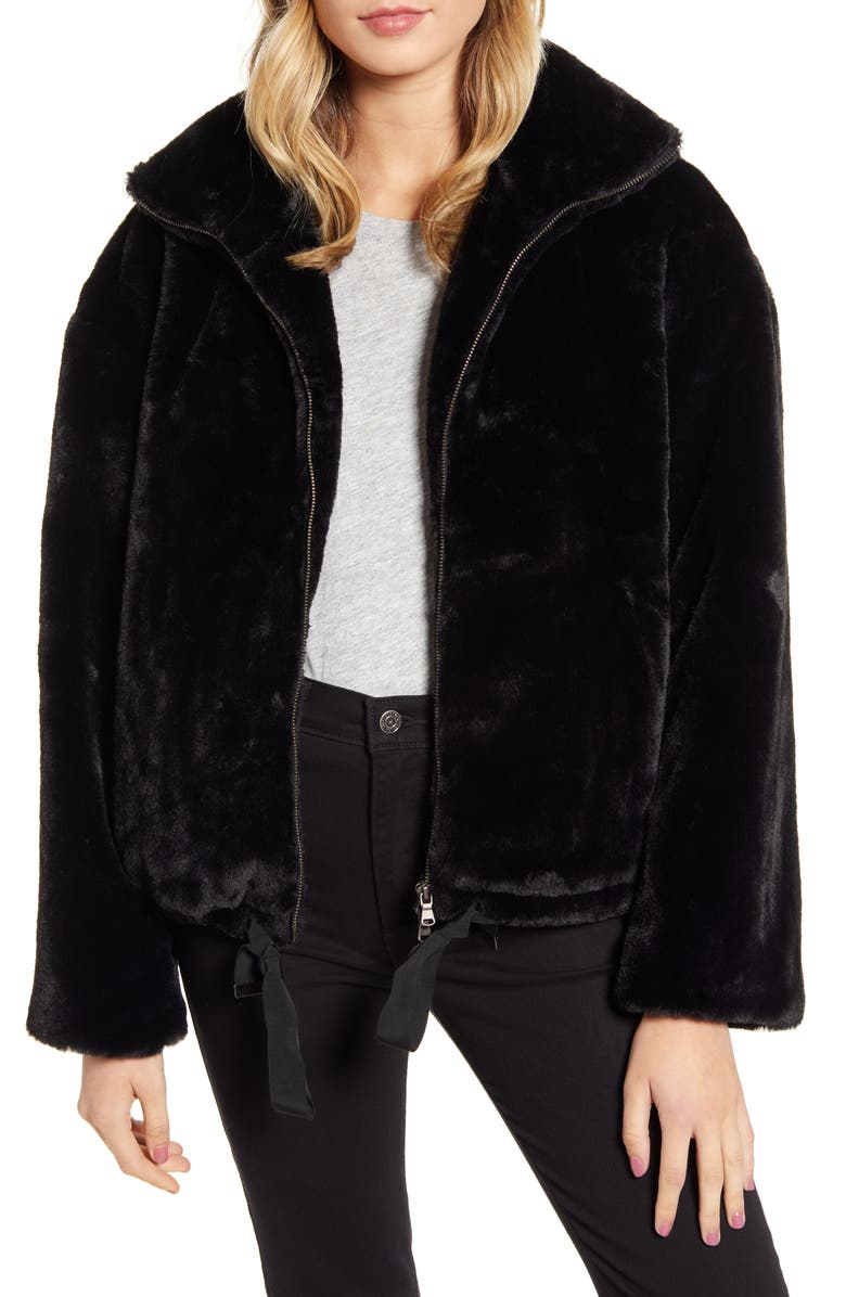 REBECCA MINKOFF Faux Fur Bomber Jacket, Main, color, BLACK