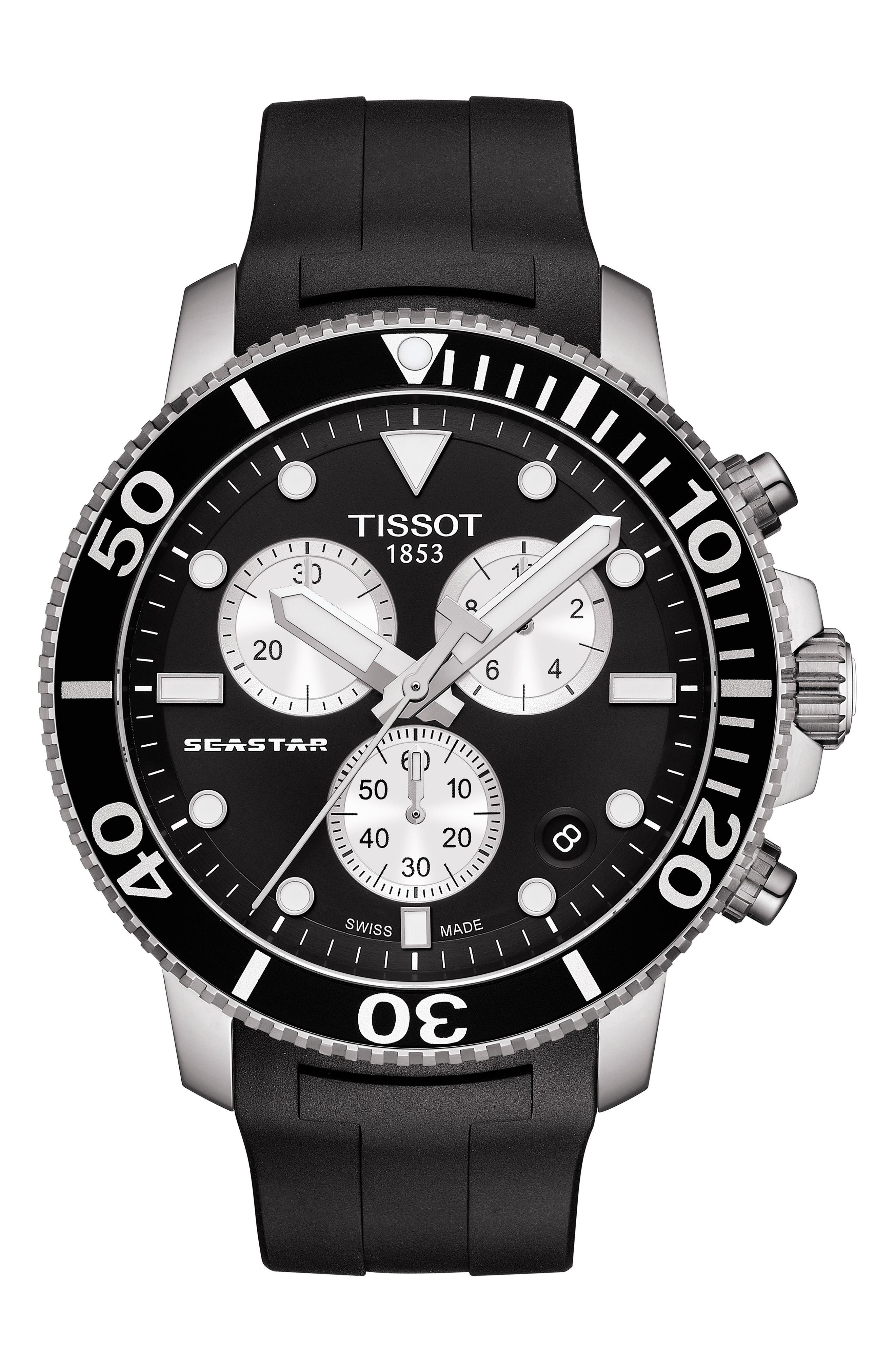 ,                             T-Sport Seastar 1000 Rubber Strap Chronograph, 45mm,                             Main thumbnail 1, color,                             BLACK/ SILVER