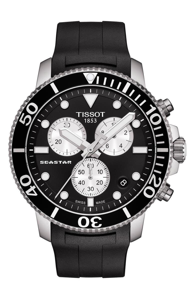 TISSOT T-Sport Seastar 1000 Rubber Strap Chronograph, 45mm, Main, color, 001