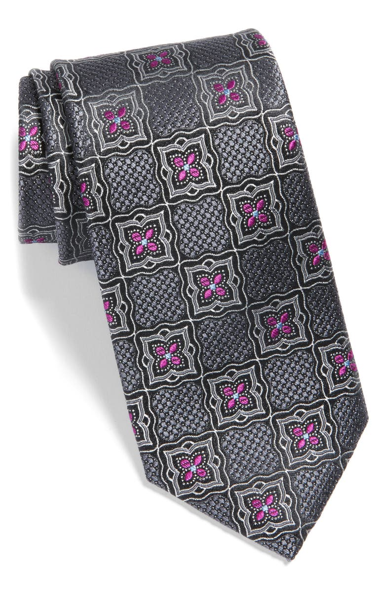 NORDSTROM MEN'S SHOP Madeira Medallion Silk Tie, Main, color, 010