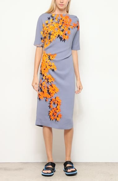 Derus Maple Print Ruched Midi Dress, video thumbnail