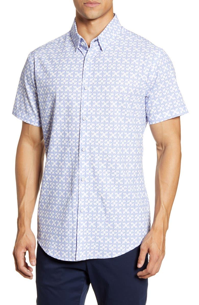 MIZZEN+MAIN Mizzen + Main Leeward Trim Fit Paisley Short Sleeve Button-Up Performance Shirt, Main, color, 465