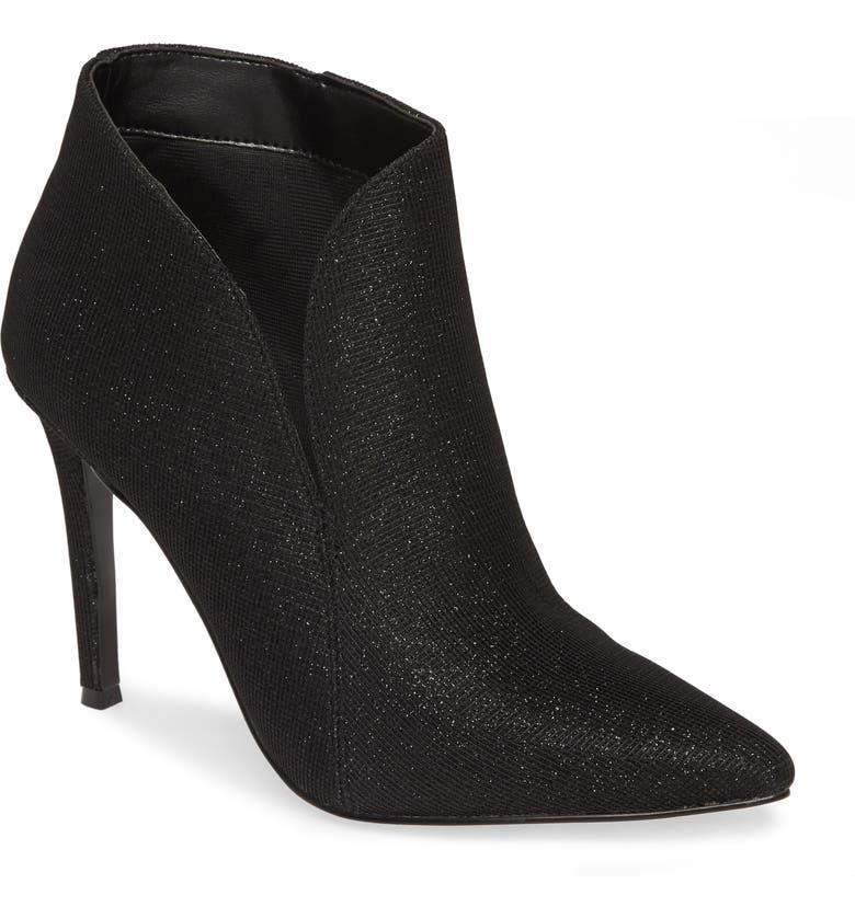 NINA Dallis Slip-On Stiletto Bootie, Main, color, BLACK FABRIC