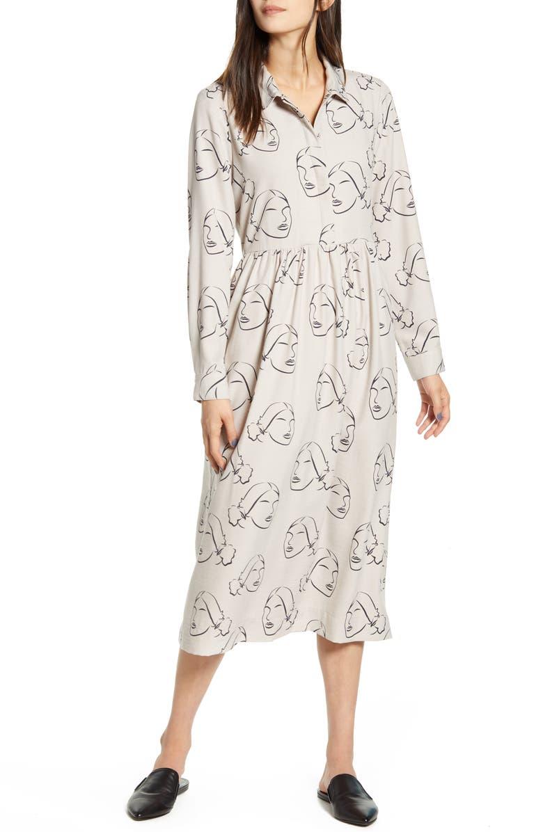 THE ODELLS Easy Print Long Sleeve Midi Dress, Main, color, 250