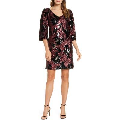 Taylor Dresses Split Sleeve Sequin Cocktail Dress, Burgundy