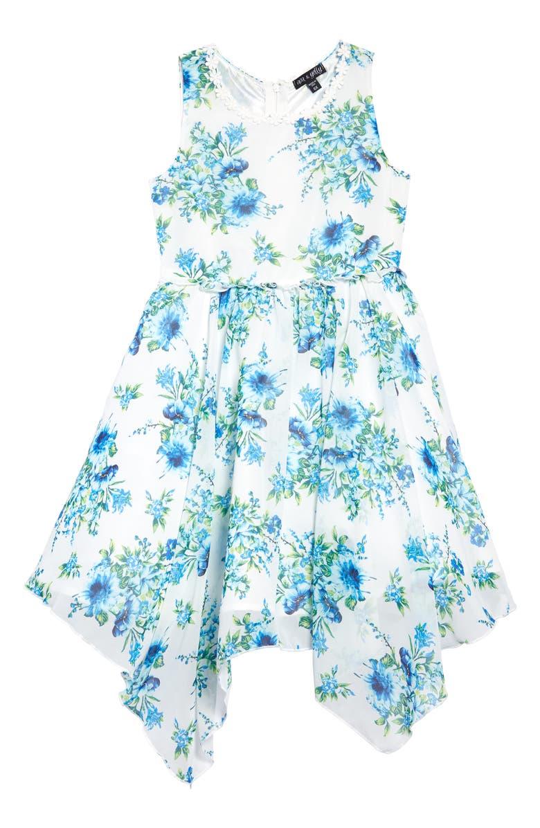 AVA & YELLY Floral Print Handkerchief Hem Party Dress, Main, color, 100