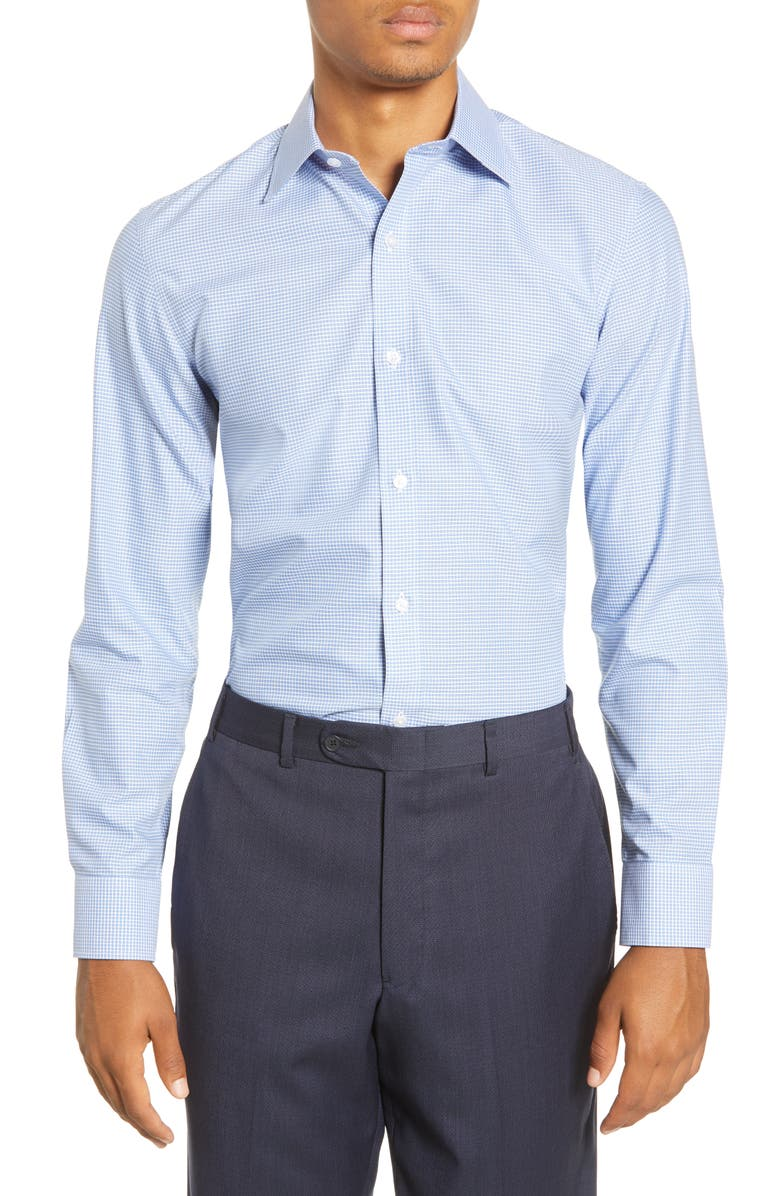 BONOBOS Slim Fit Check Dress Shirt, Main, color, ROLLING HILLS - CORNFLOWER