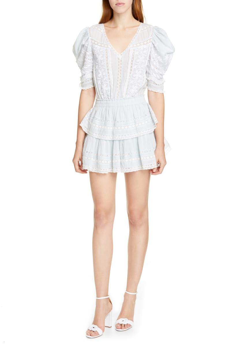 LOVESHACKFANCY Marissa Lace Detail Tiered Ruffle Minidress, Main, color, 427