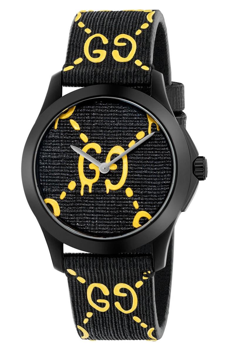 GUCCI GG Rubber Strap Watch, 38mm, Main, color, BLACK