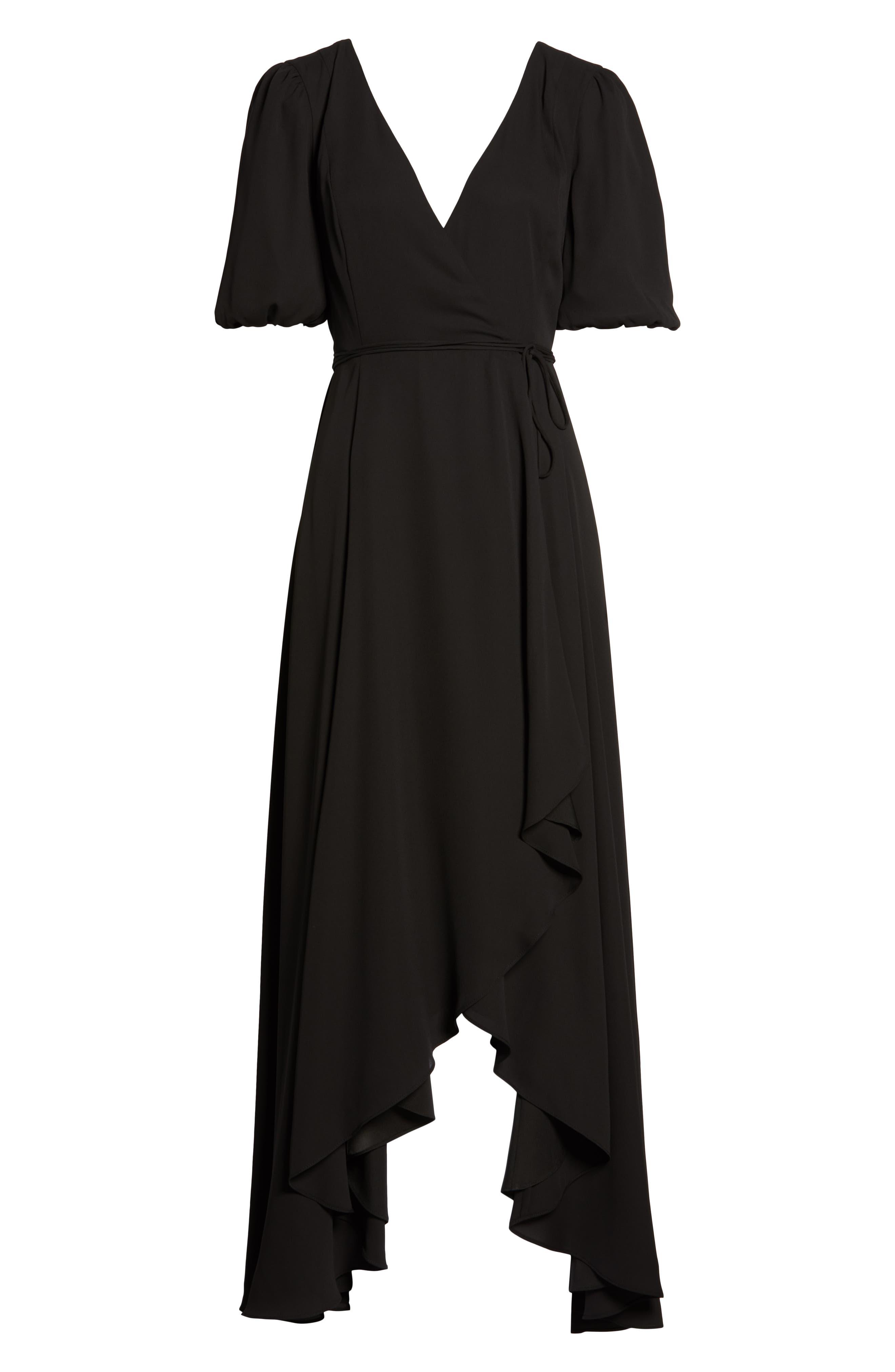 ,                             V-Neck Georgette Wrap Gown,                             Alternate thumbnail 7, color,                             BLACK