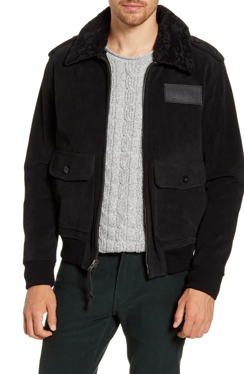 FRYE Genuine Shearling Trim Suede Aviator Jacket, Main, color, BLACK