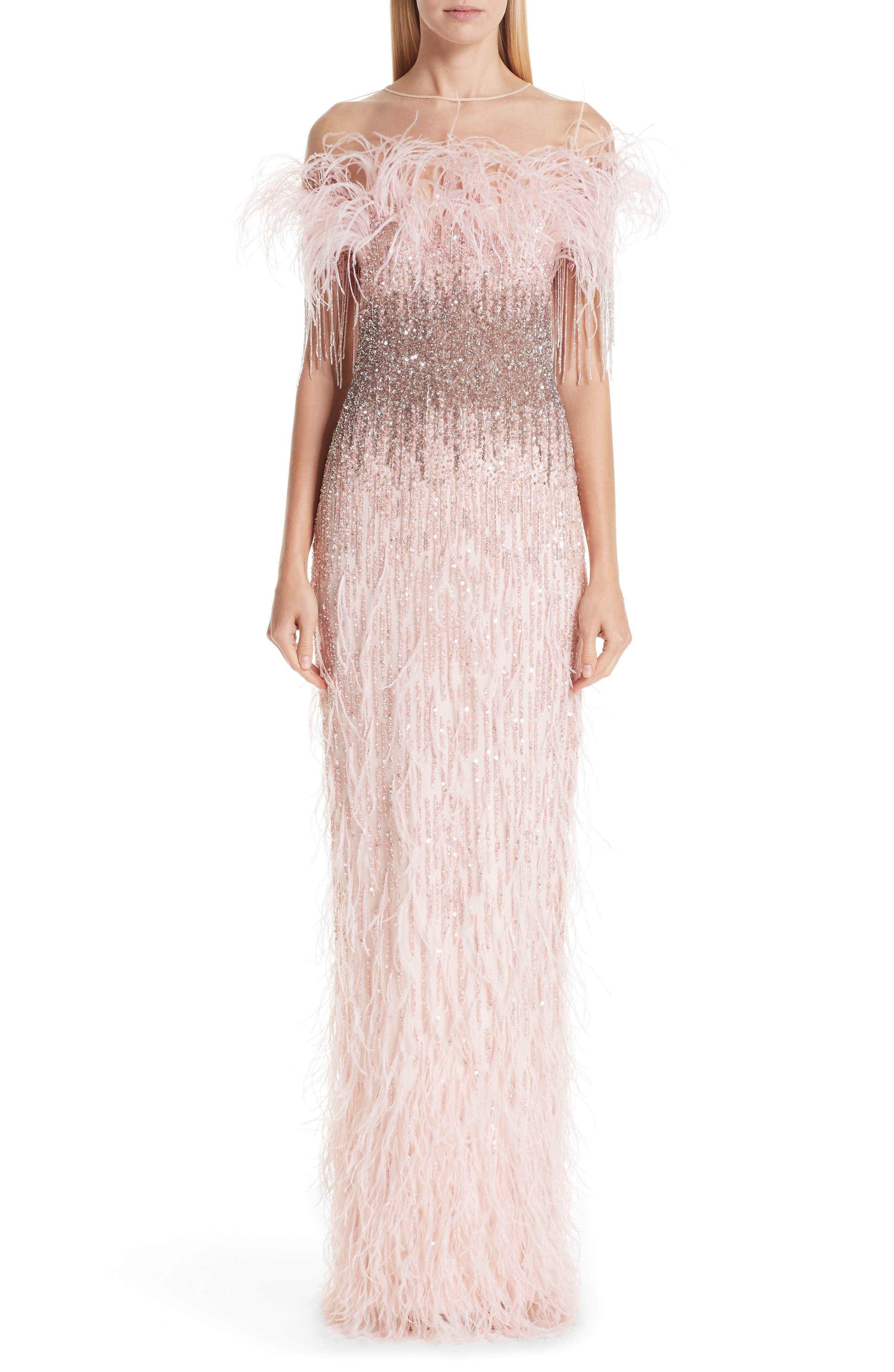 Pamella Roland Feather Trim Embellished Column Gown, Pink