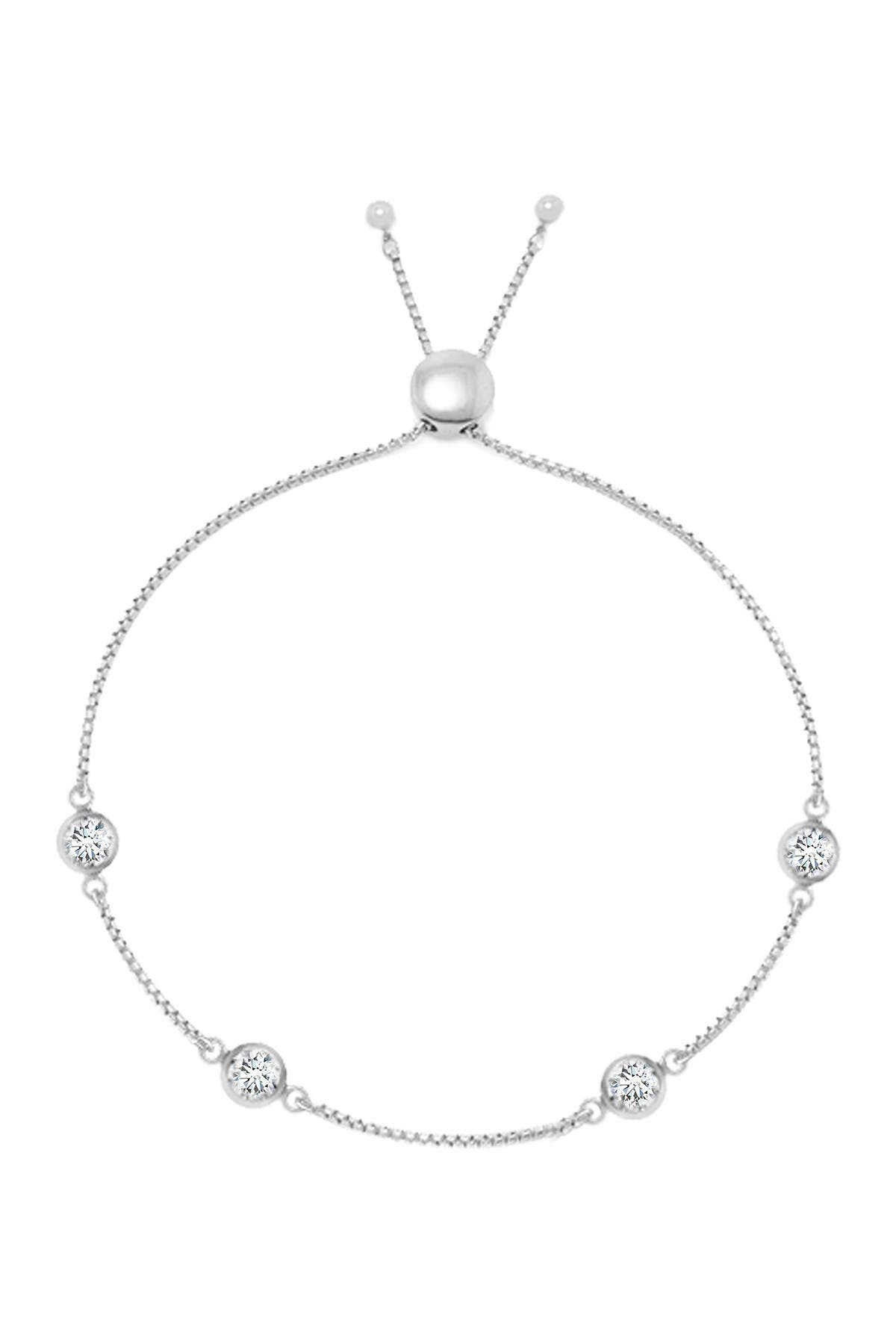 Image of Savvy Cie Sterling Silver Simulated Diamonds by the Yard Bolo Adjustable Bracelet