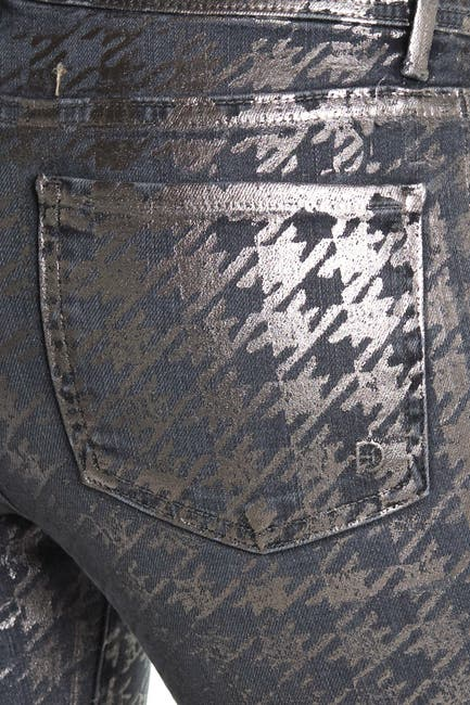 Image of FIDELITY DENIM Sola Metallic Houndstooth Skinny Jeans