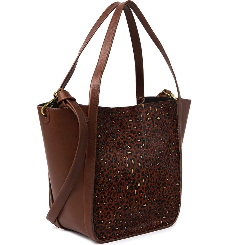 MADEWELL Large Sydney Genuine Calf Hair Leather Tote Bag, Main, color, RICH BROWN MULTI