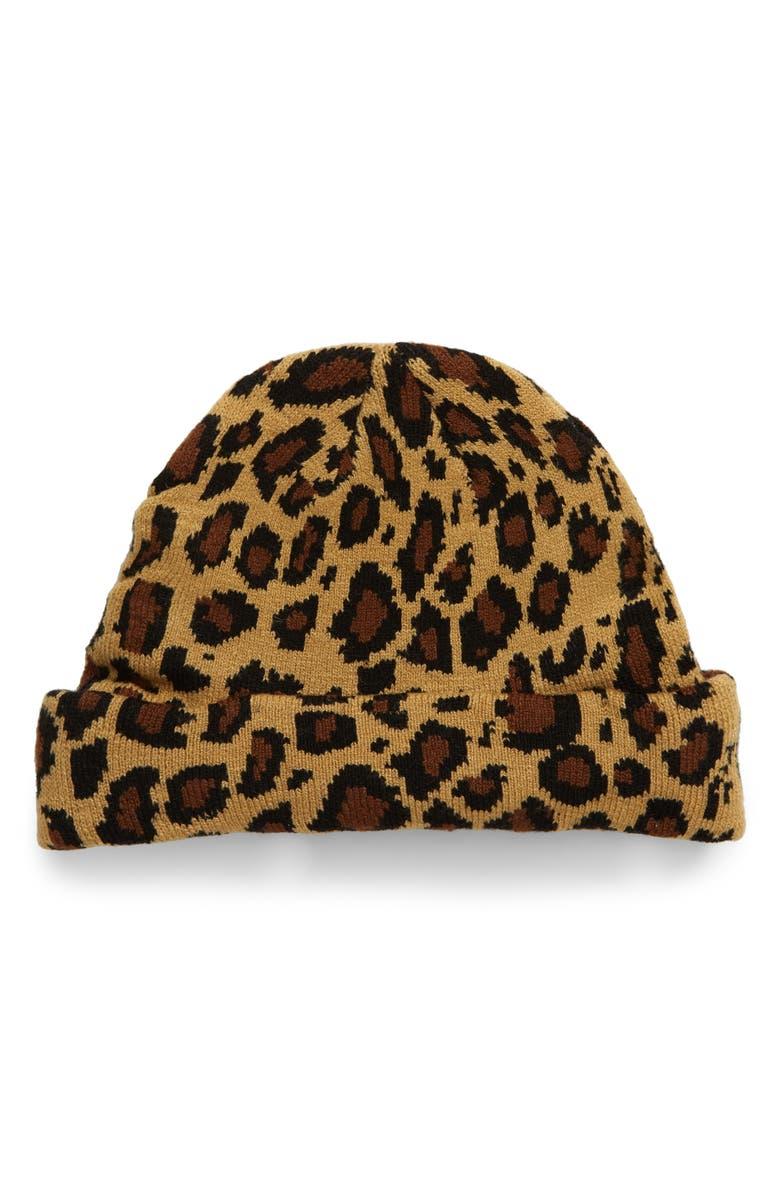 BP. Leopard Spot Beanie, Main, color, BROWN COMBO