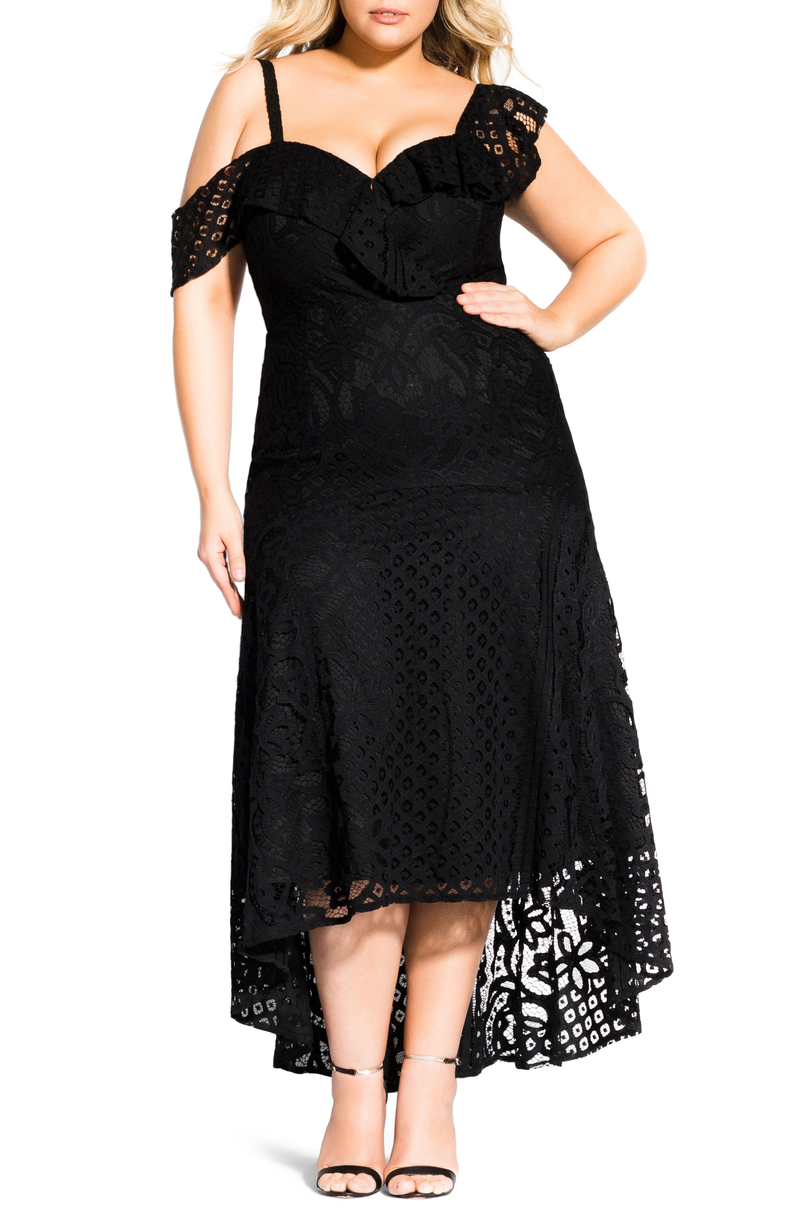 Plus Size City Chic Femme Fatale Maxi Dress, Black