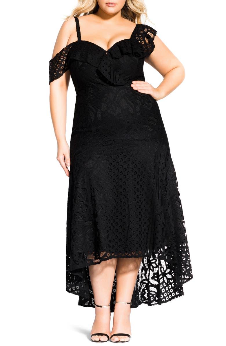 CITY CHIC Femme Fatale Maxi Dress, Main, color, BLACK
