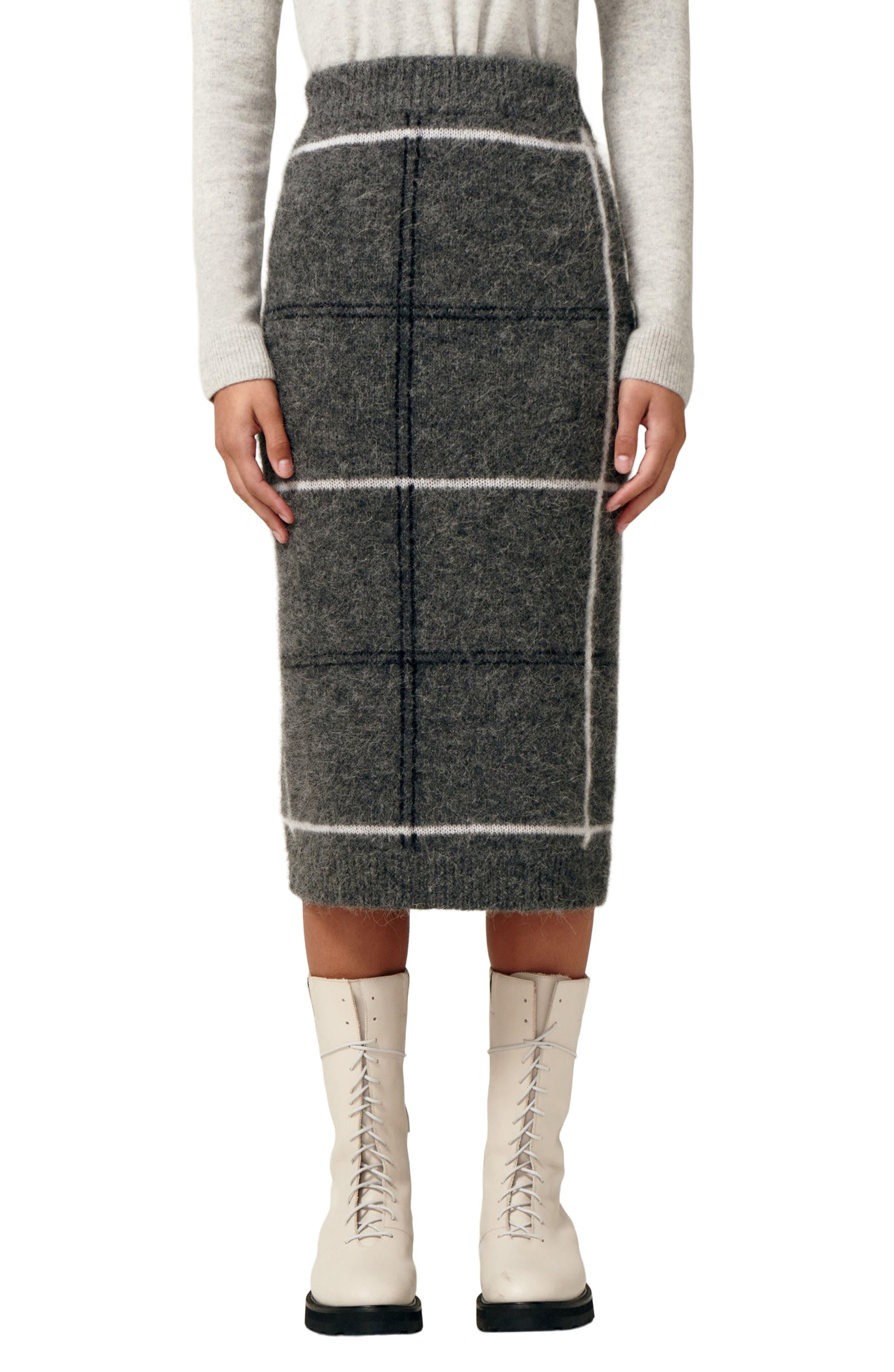 Nurture Manchester Plaid Alpaca Blend Skirt