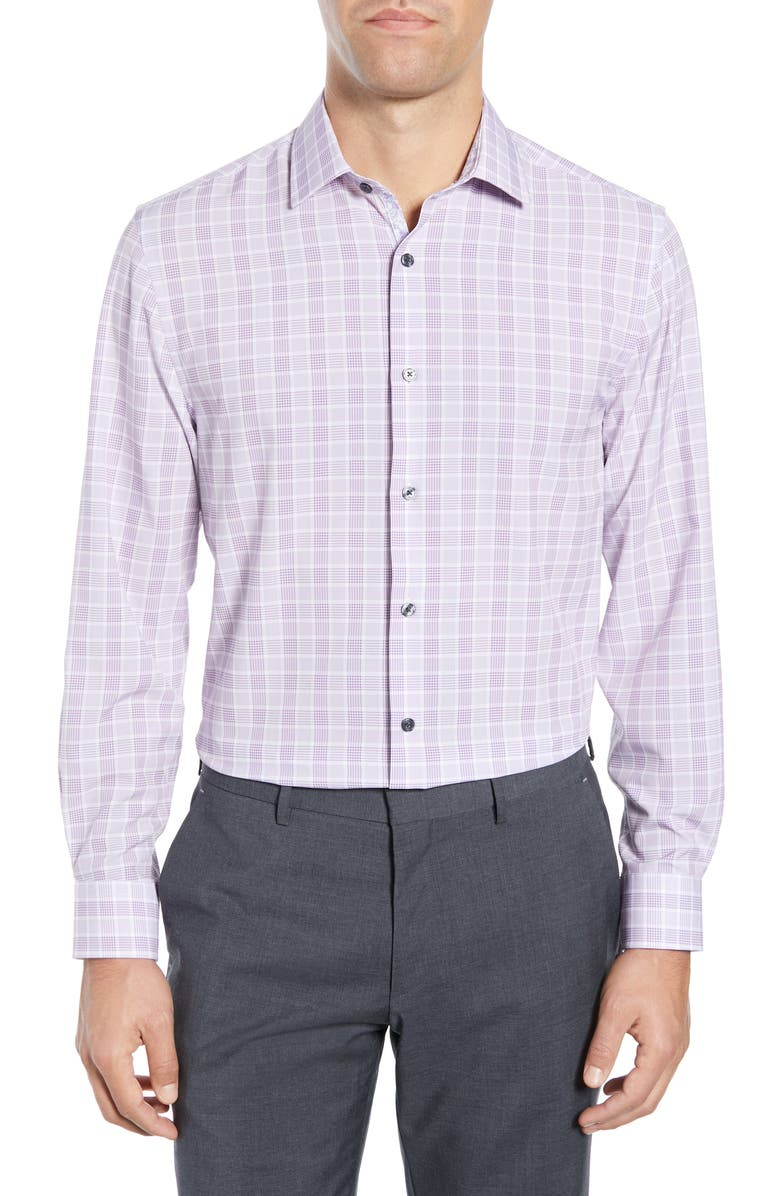W.R.K Trim Fit Performance Stretch Plaid Dress Shirt, Main, color, LILAC