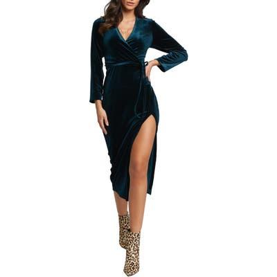 Bardot Morgan Long Sleeve Velvet Faux Wrap Dress, Green