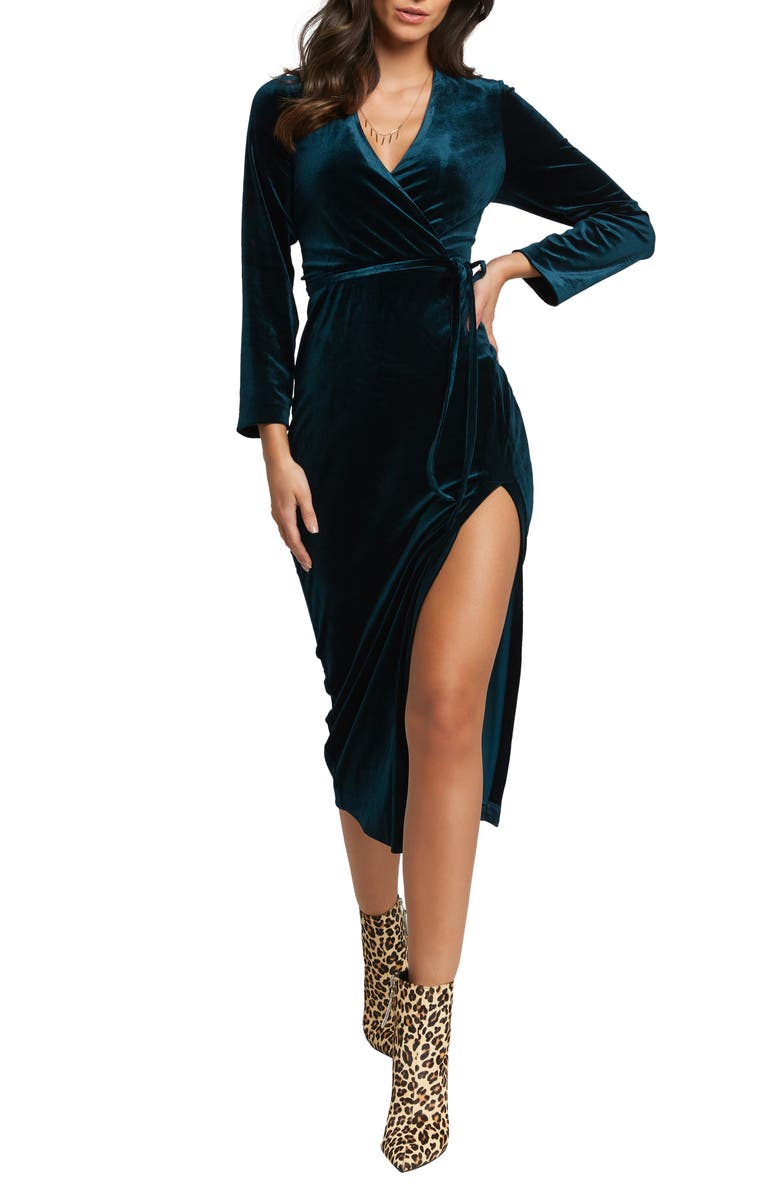 BARDOT Morgan Long Sleeve Velvet Faux Wrap Dress, Main, color, 310
