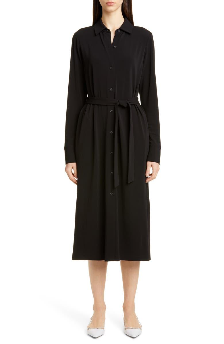 LAFAYETTE 148 NEW YORK Rea Long Sleeve Midi Shirtdress, Main, color, BLACK