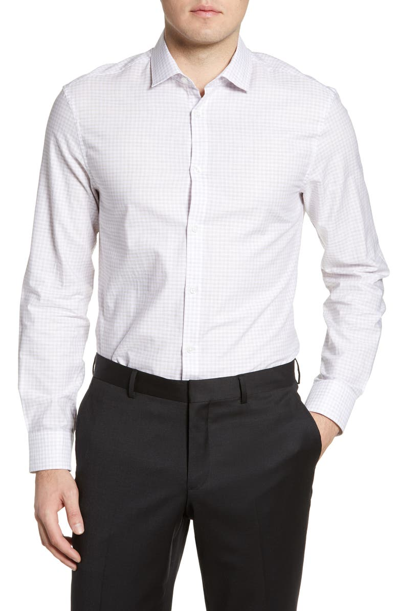 JOHN VARVATOS STAR USA Slim Fit Check Dress Shirt, Main, color, ANTIQUE ROSE