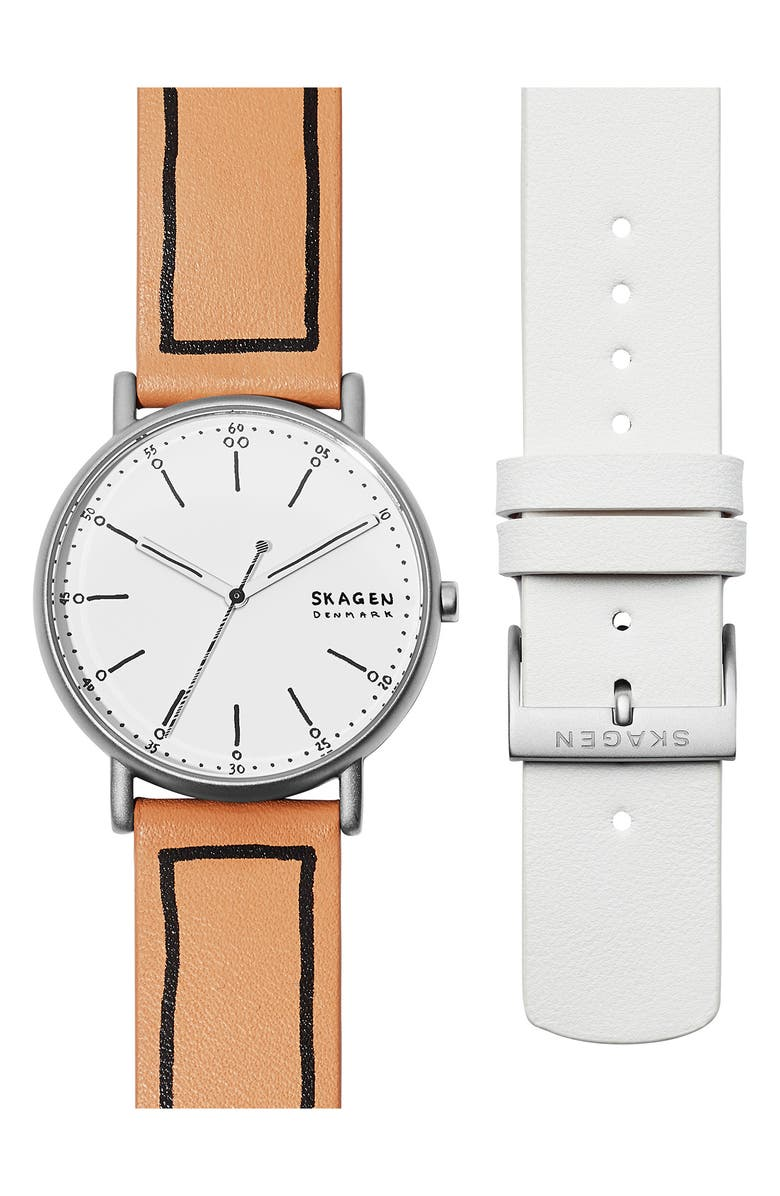 SKAGEN Signature Leather Strap Watch Set, 38mm, Main, color, SILVER/ WHITE/ SILVER
