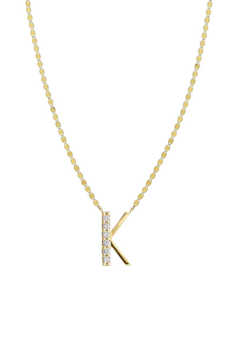 LANA JEWELRY Initial Pendant Necklace, Main, color, YELLOW GOLD- K
