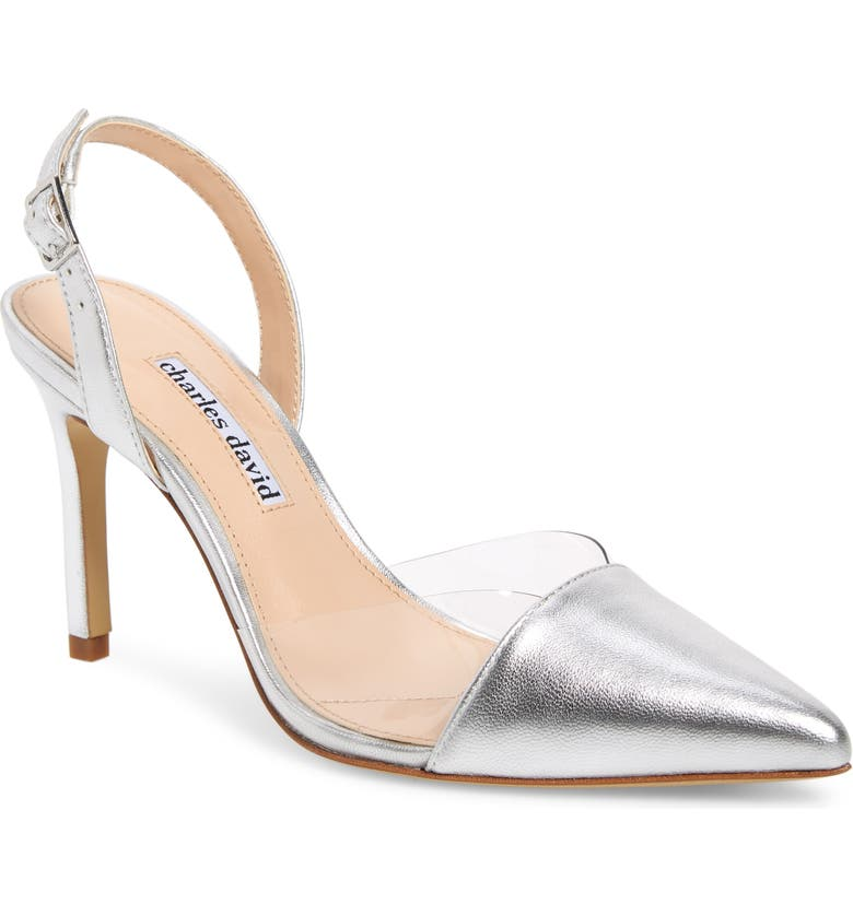 CHARLES DAVID Daryl Slingback Pump, Main, color, SILVER/ CLEAR LEATHER