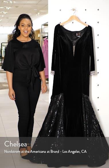 Long Sleeve Velvet Mermaid Gown, sales video thumbnail